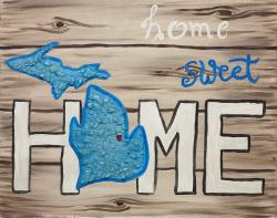 "The image for Glass art - Michigan ""Home Sweet Home"""